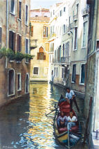 Watercolor Painting - Side Street In Venice