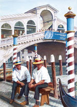 Watercolor Painting - Two Gondoliers